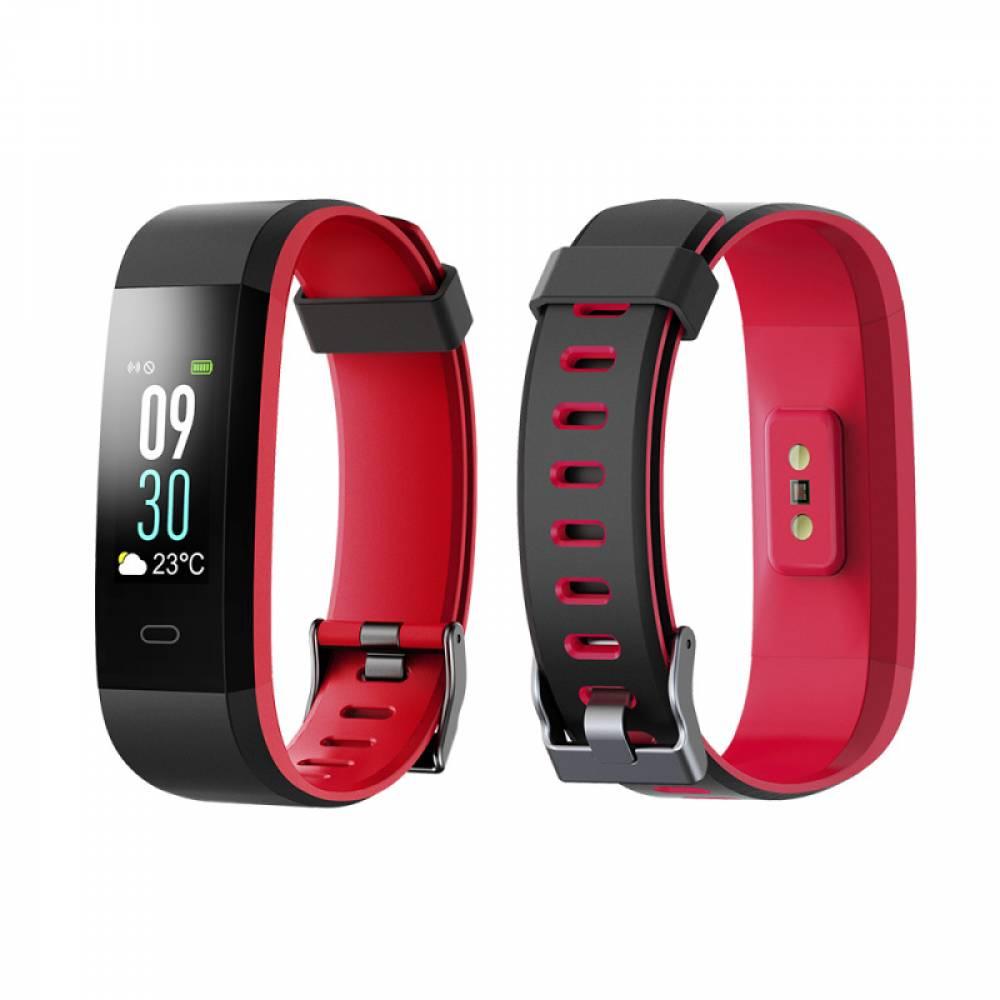 Смарт Фитнес гривна Smart Bracelet ID115 Plus C, Heart Rate monitor, Multi-sport, Цветен дисплей, Фитнес монитор, Крачки, Калории, Черна / Червена