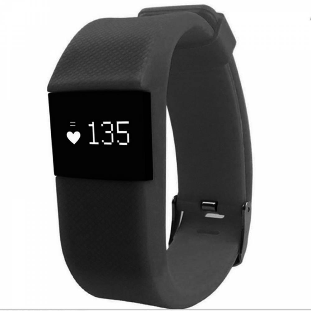 Фитнес гривна Smart Bracelet, Пулсомер, Часовник, TW64S, Черна