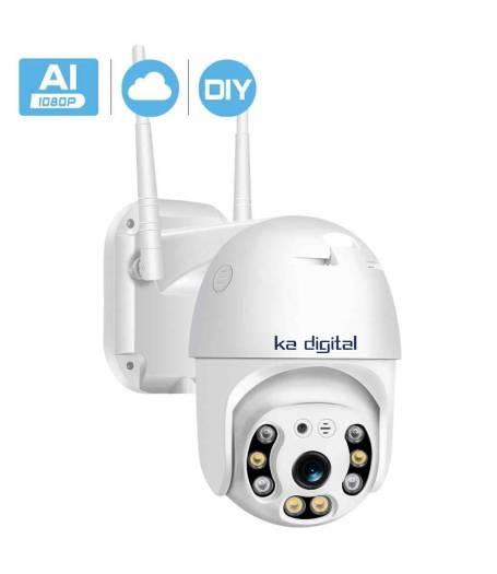Wifi / IP Смарт камера PTZ ( въртяща се ) за външна употреба KaDigital , 2MP - Full Hd 1080p , Нотификации при движение или звук. Завъртане по хоризонтала и вертикал