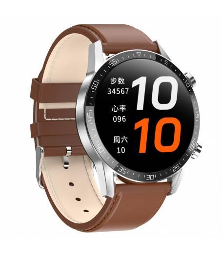 Спортен Смарт Часовник KA Digital® 13C, EKG, Пулс, Кръвно налягане, Kрачки, Разстояние, Bluetooth, Кожена каишка,  Кафяв
