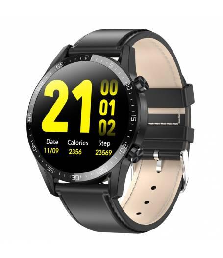 Спортен Смарт Часовник KA Digital® 13C, EKG, Пулс, Кръвно налягане, Kрачки, Разстояние, Bluetooth, Кожена каишка,  Черен
