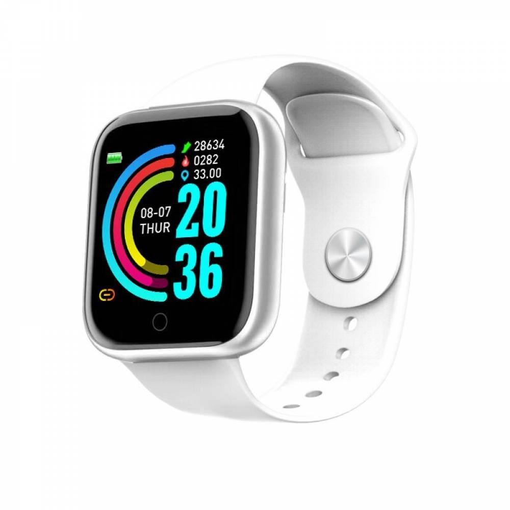 Смарт Часовник KA Digital® D20 Pro, Пулс,Кръвно налягане, Kрачки, Разстояние,Мултиспорт, Bluetooth, Бял