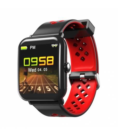 Водоустойчив Спортен Смарт Часовник KA Digital® DM06, Пулс, Kрачки, Разстояние,Мултиспорт, Bluetooth, Черен/Червен