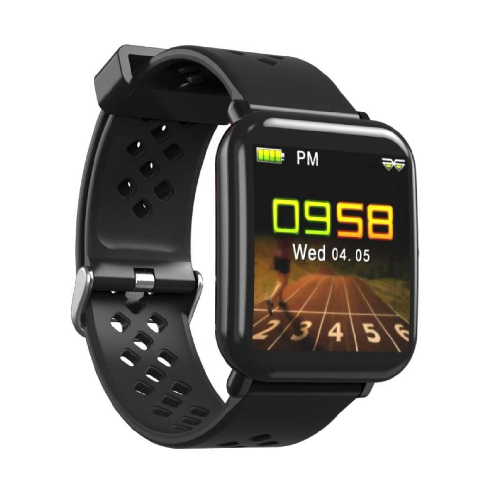 Водоустойчив Спортен Смарт Часовник KA Digital® DM06, Пулс, Kрачки, Разстояние, Bluetooth, Черен