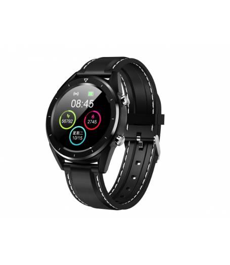 Водоустойчив Спортен Смарт Часовник KA Digital® DT28, Пулс, Кръвно налягане, Kрачки, Разстояние, Bluetooth, Черен