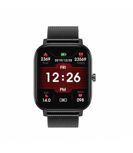 Спортен Смарт Часовник KA Digital® DT35, EKG, Пулс, Кръвно налягане, Kрачки, Разстояние, Bluetooth, Метална верижка