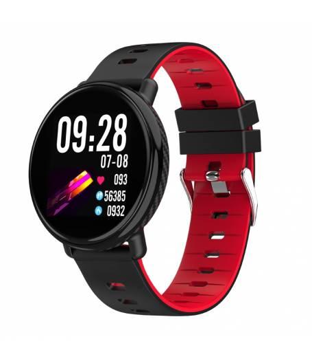 Водоустойчив Спортен Смарт Часовник KA Digital® K1, Пулс, Kрачки, Разстояние,Мултиспорт, Bluetooth, Черен / Червен