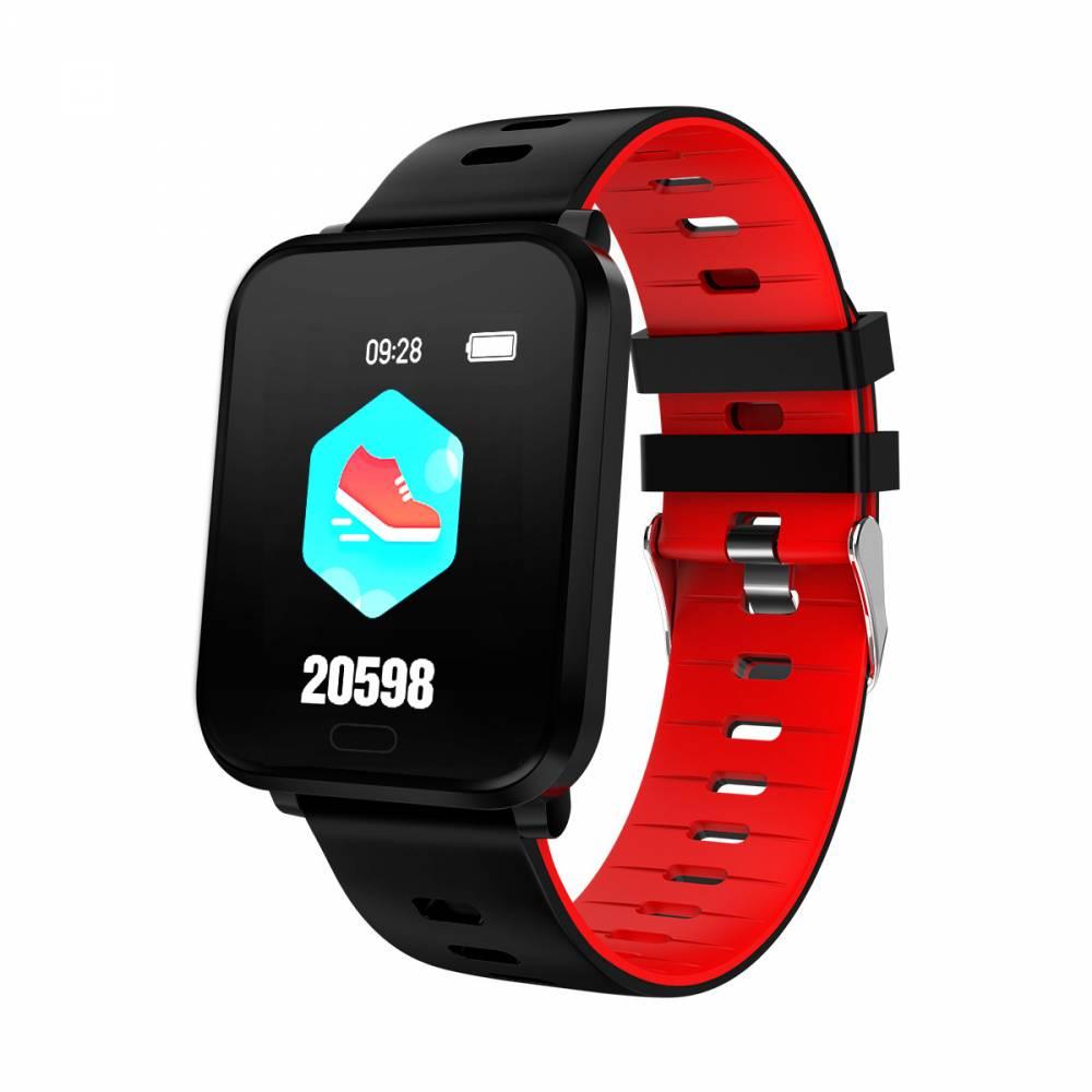 Водоустойчив Спортен Смарт Часовник KA Digital® K10, Пулс, Kрачки, Разстояние, Bluetooth, Червен