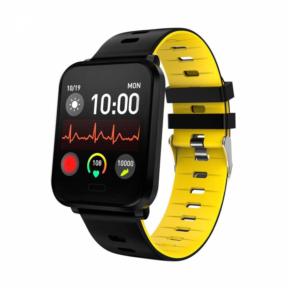 Водоустойчив Спортен Смарт Часовник KA Digital® K10, Пулс, Kрачки, Разстояние, Bluetooth, Жълт