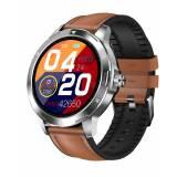 Спортен Смарт Часовник KA Digital K15, Телесна температура, Пулс, Кръвно налягане, Kрачки, Разстояние, Кожена верижка, Кафяв