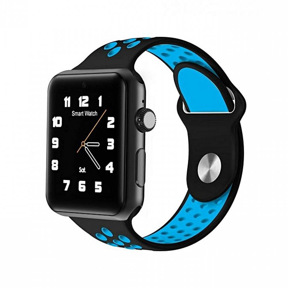 Смарт часовник KA M3, Слот за SIM карта, Bluetooth, Камера, Алуминий, Син
