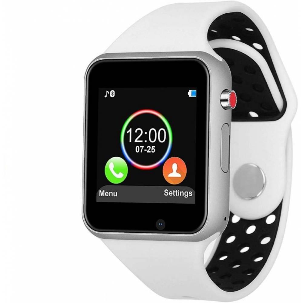 Смарт часовник KA M3, Слот за SIM карта, Bluetooth, Камера, Алуминий, Бял