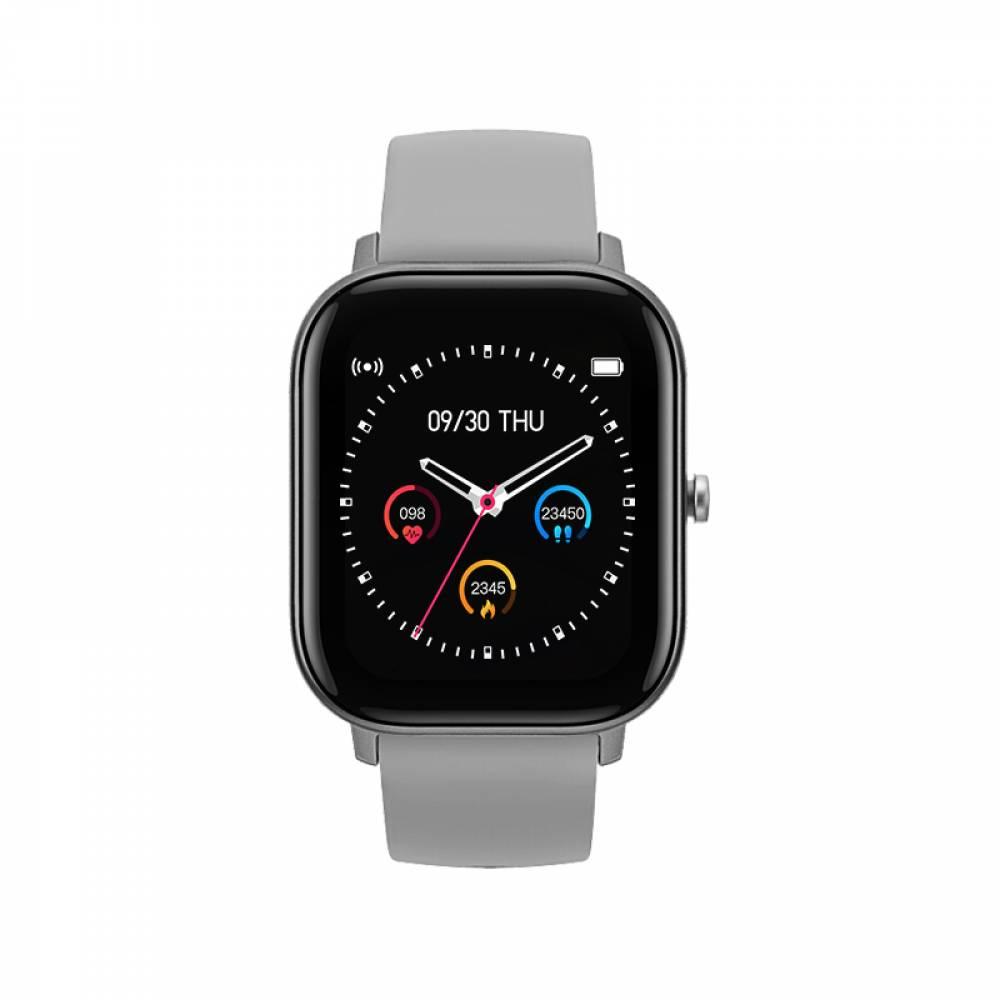 Смарт Часовник KA Digital® P8, Пулс, Кръвно налягане, Kрачки, Разстояние, Нотификации, Сив