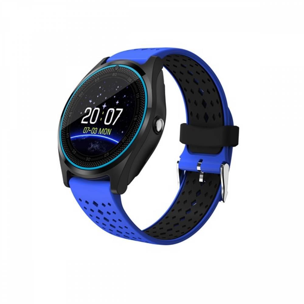 Смарт часовник KA Digital® V9 PLus 2019, SIM карта, Bluetooth,Kамера, фитнес монитор, подвижна каишка, червен, Алуминий, Син