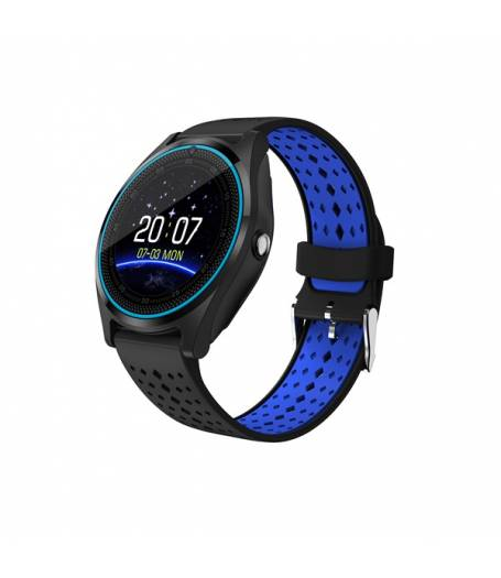 Смарт часовник Kadigital KA V9 PLus 2018, SIM карта, Bluetooth,Kамера, фитнес монитор, подвижна каишка, червен, Алуминий, Черен/Син