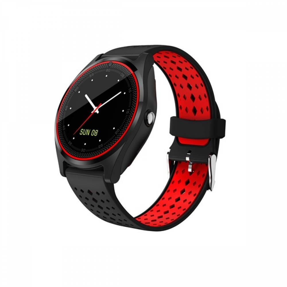 Смарт часовник Kadigital KA V9 PLus 2018, SIM карта, Bluetooth,Kамера, фитнес монитор, подвижна каишка, червен, Алуминий, Черен