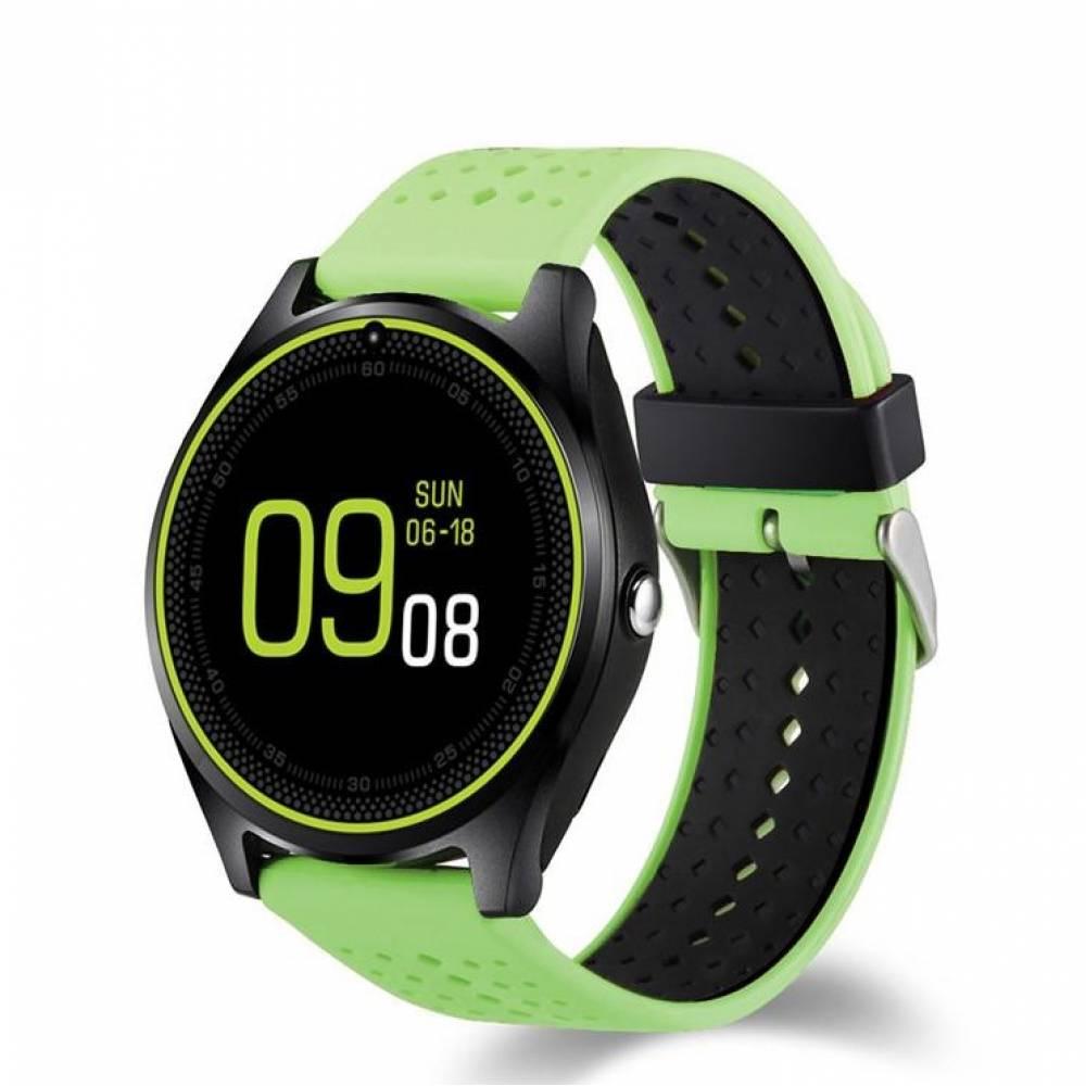 Смарт часовник KA Digital® V9 PLus 2019, SIM карта, Bluetooth,Kамера,Сърдечен пулс, фитнес монитор, подвижна каишка, Алуминий, Зелен
