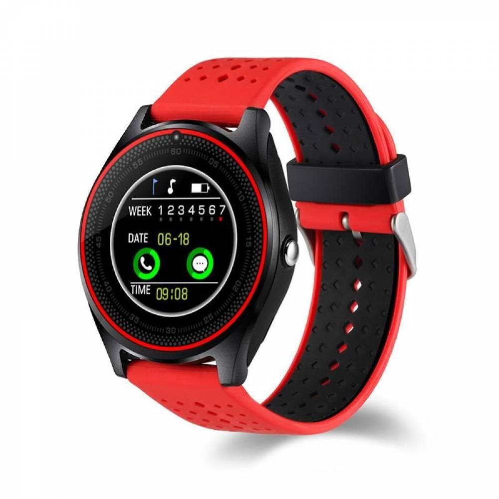 Смарт часовник Kadigital KA V9 PLus 2019, SIM карта, Bluetooth,Kамера, фитнес монитор, подвижна каишка, червен, Алуминий, Черен