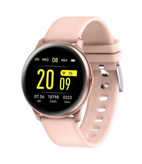 Смарт Часовник KA Digital® KW19, Пулс,Кръвно налягане, Kрачки, Разстояние,Мултиспорт, Bluetooth, Розов