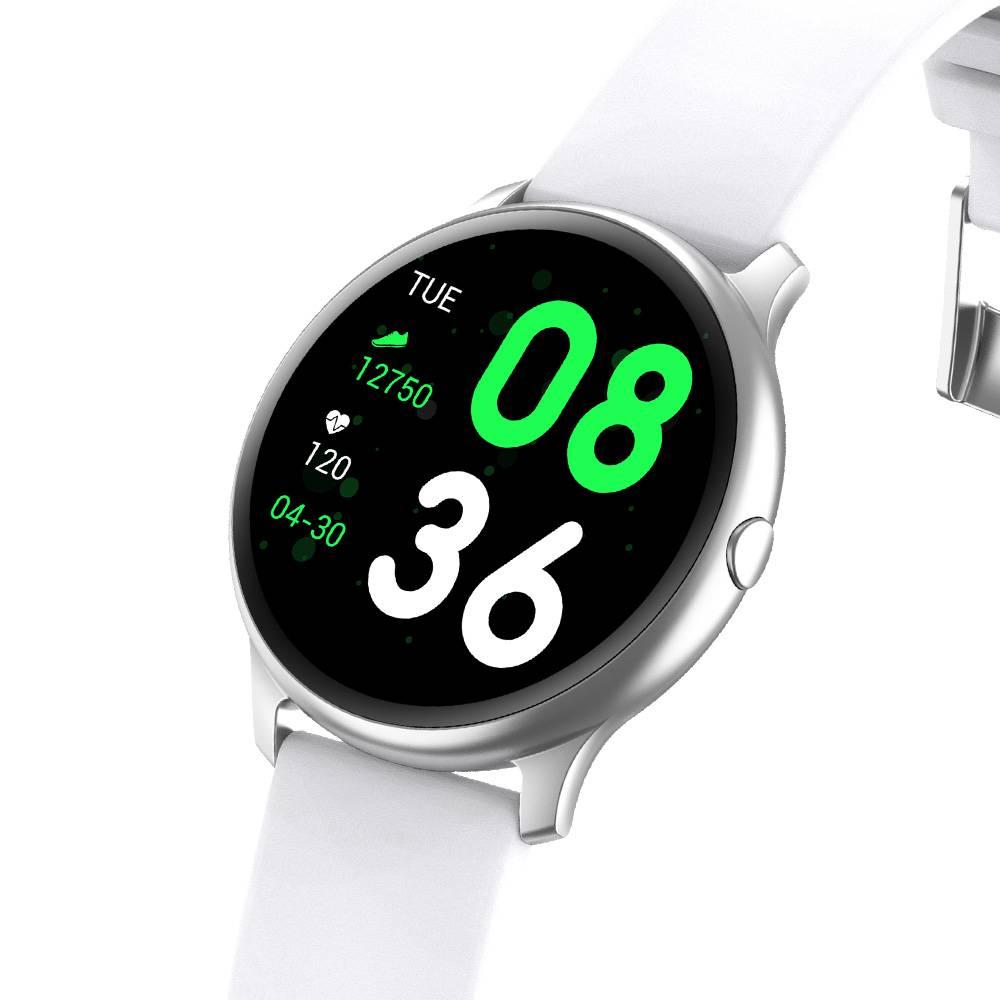 Смарт Часовник KA Digital® KW19, Пулс,Кръвно налягане, Kрачки, Разстояние,Мултиспорт, Bluetooth, Бял