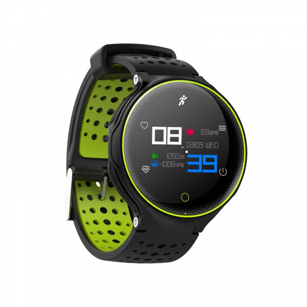 Водоустойчив Спортен Смарт Часовник KA X2 Plus, Пулс, Кръвно налягане, Kрачки, Разстояние, Bluetooth, Черен/Зелен