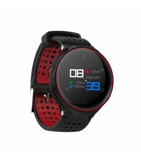 Водоустойчив Спортен Смарт часовник KA X2 Plus Пулс, Кръвно налягане, крачки, Разстояние, Bluetooth, Черен/Червен