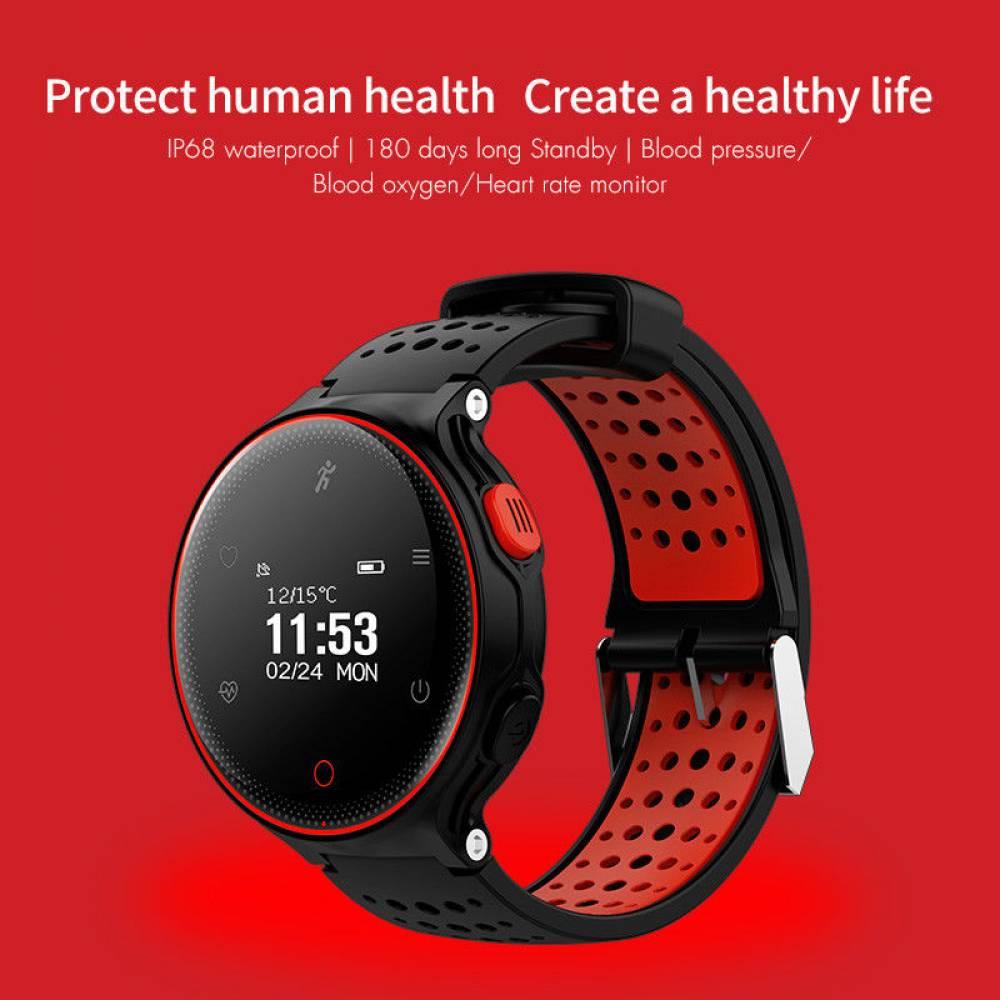 Водоустойчив Спортен Смарт Часовник KA Digital® X2 , Пулс, Кръвно налягане, Kрачки, Разстояние, Bluetooth, Черен/Червен