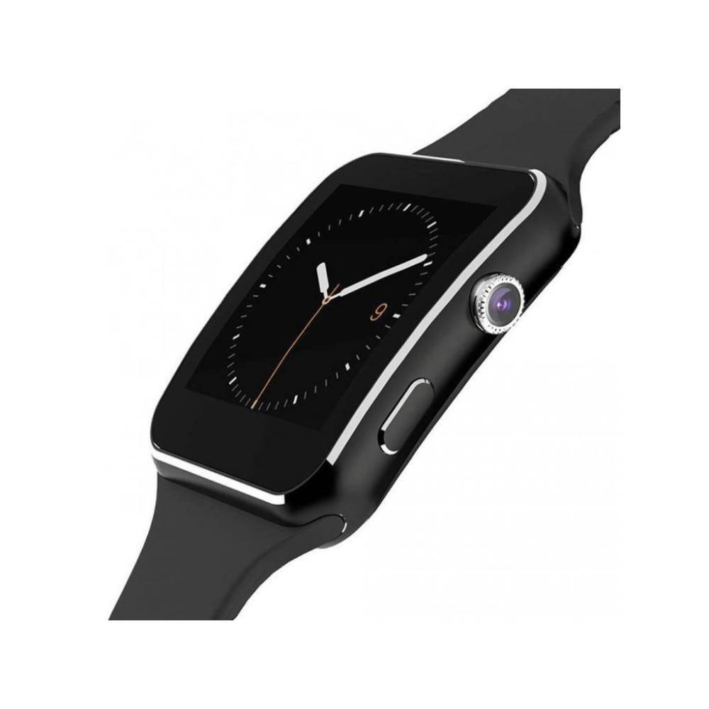Смарт часовник KA X6, Слот за SIM карта, Bluetooth, Камера, Алуминий, Черен