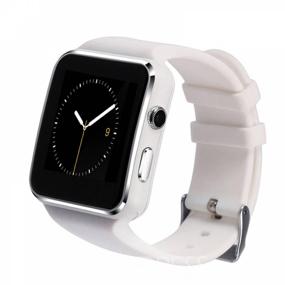 Смарт часовник KA X6, Слот за SIM карта, Bluetooth, Камера, Алуминий, Бял