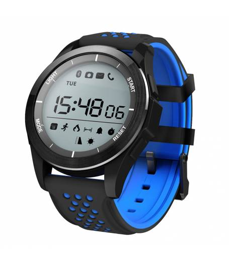 Водоустойчив Спортен Смарт часовник KA F3 Sport, Атмосферно налягане, Барометър, Температура, UV, Надморска височина, Bluetooth, Черен/Син