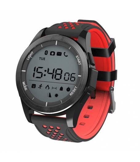 Водоустойчив Спортен Смарт часовник KA F3 Sport, Атмосферно налягане, Барометър, UV, Надморска височина, Bluetooth, Черен/Червен