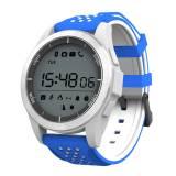 Спортен Смарт часовник KA Digital® F3 Sport, Атмосферно налягане, Барометър, UV, Надморска височина, Bluetooth, Бял/Син