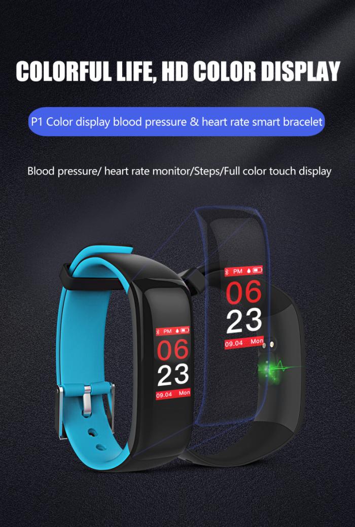 Фитнес гривна Smart Bracelet P1 Plus BP/HR, Кръвно..